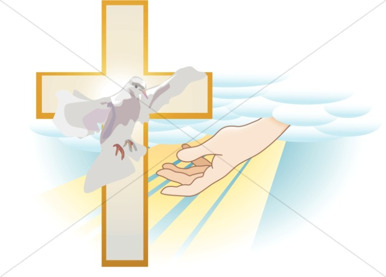 Father son and holy spirit clipart for children transparent Hand of God with Cross and Dove | Trinity Clipart transparent