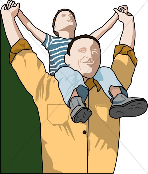 Fathers day to a son clipart graphic Father\'s Day Piggy Back Clip Art | Father\'s Day graphic