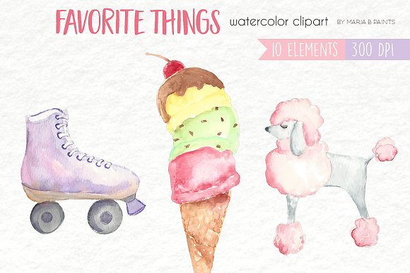 Fav clipart size image freeuse Watercolor Clip Art -Favorite Things ~ Illustrations on Creative ... image freeuse
