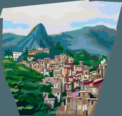 Favela clipart jpg royalty free Favela of Rio de Janeiro, Brazil Royalty Free Vector Clip Art ... jpg royalty free