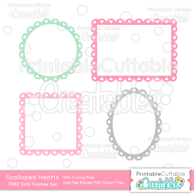 Fb frame clipart clip art black and white library Scalloped Hearts Frames FREE SVG Cut Files for Silhouette Cameo ... clip art black and white library