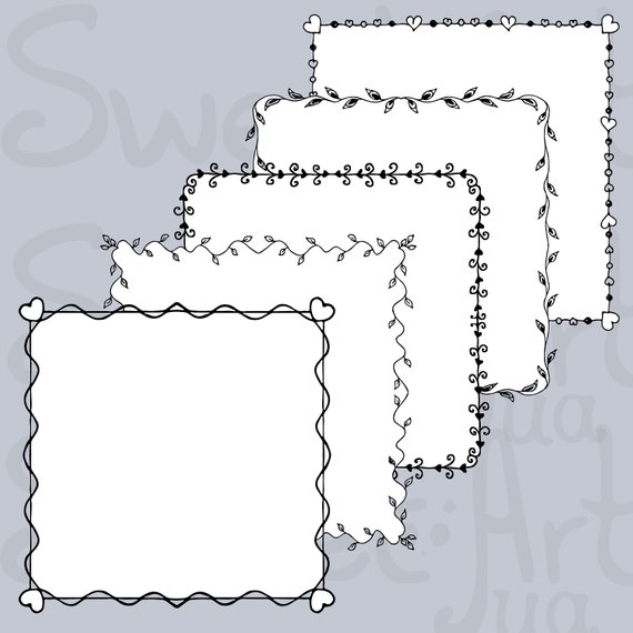 Fb frame clipart image transparent stock Square Frame SVG, Doodle Border Love Clipart, Doodle Frames, Hand ... image transparent stock