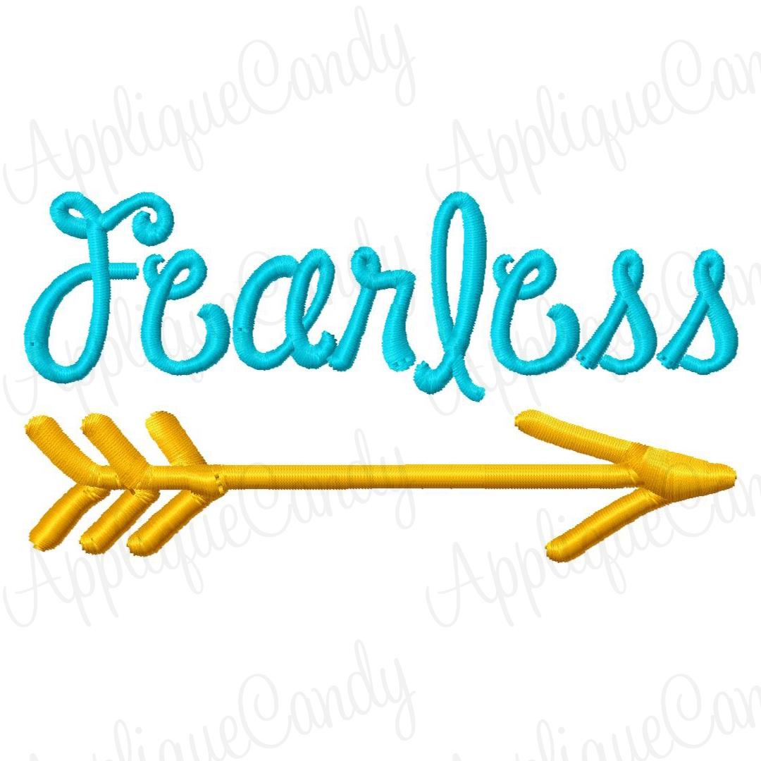 Fearless with an arrow clipart vector royalty free Fearless Embroidery Design vector royalty free