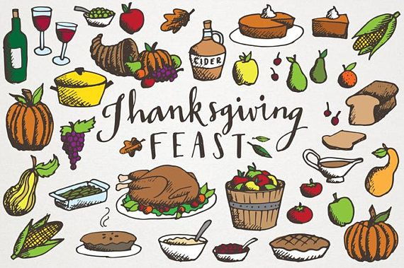 Feasts clipart banner royalty free download Thanksgiving Feast Clipart - Hand drawn illustrations, commercial ... banner royalty free download