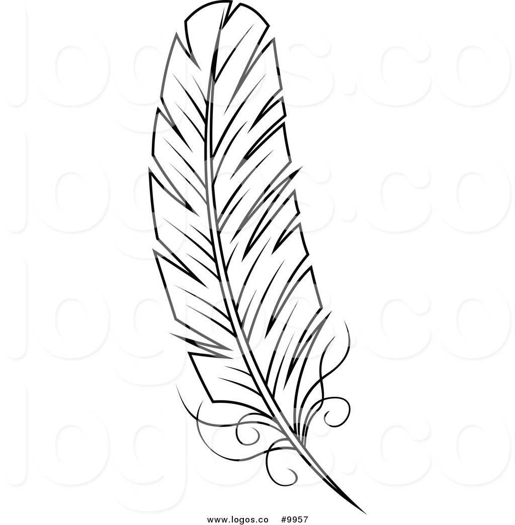 Feather clipart black and white free banner library Royalty Free Clip Art Vector Black and White Feather Logo by Vector ... banner library
