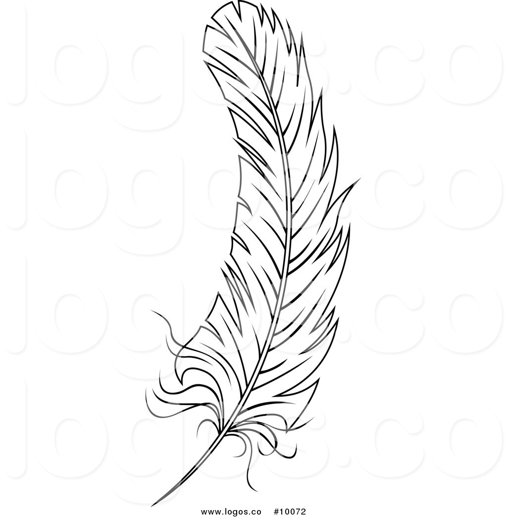 Feather clipart images black and white vector library stock Royalty Free Vector of a Black and White Feather Logo by Vector ... vector library stock