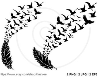 Feather turning into birds clipart picture free Feather turning into birds clipart - ClipartFest picture free