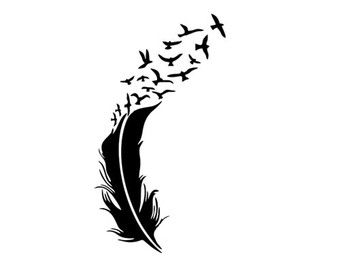 Feather turning into birds clipart png library library feather and birds svg dxf file instant download silhouette cameo ... png library library