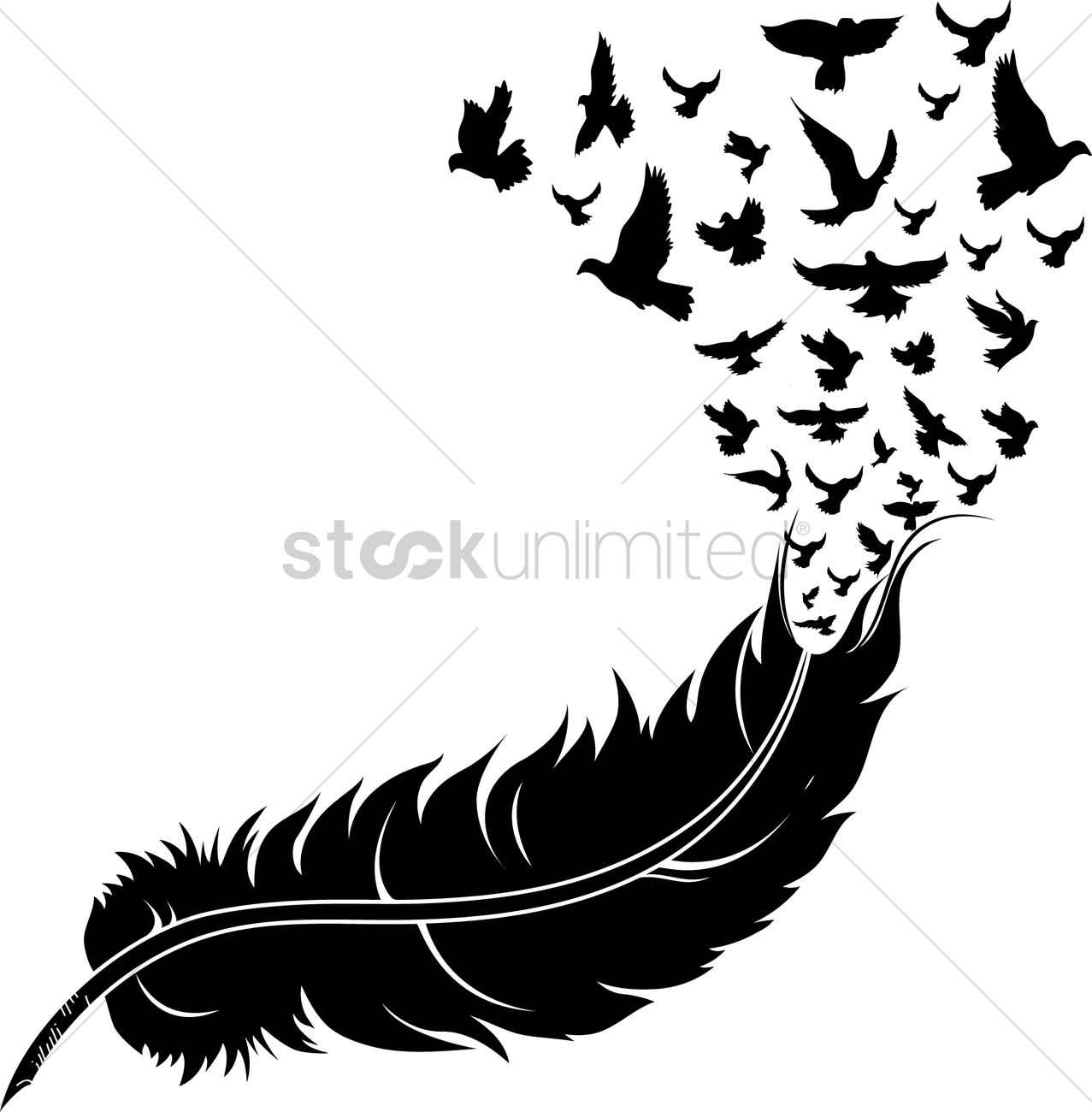 Feather turning into birds clipart clip Feather with birds Vector Image - 1514999 | StockUnlimited clip