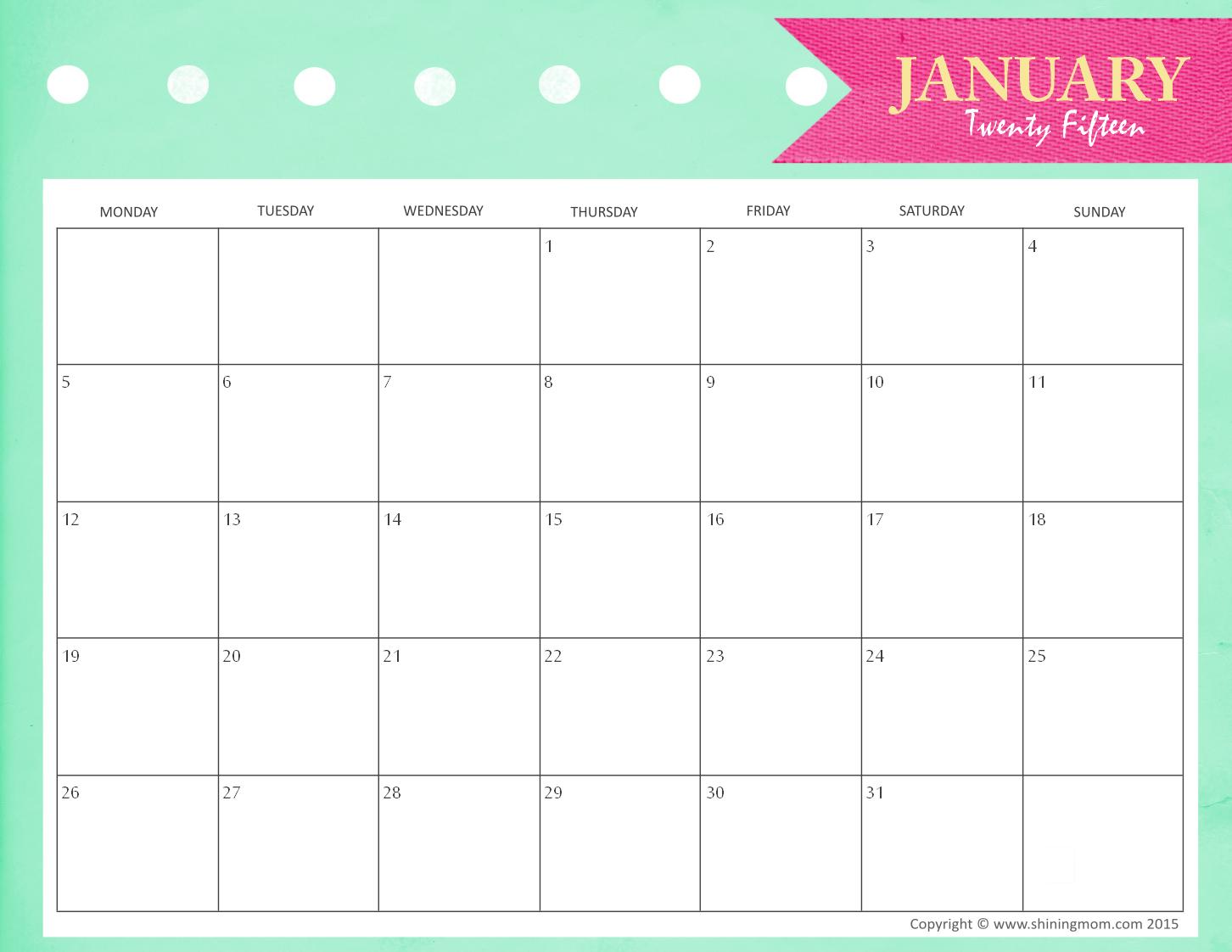 February 2015 calendar clipart png transparent January 2017 Printable Calendar For Kids | Calendar Template png transparent