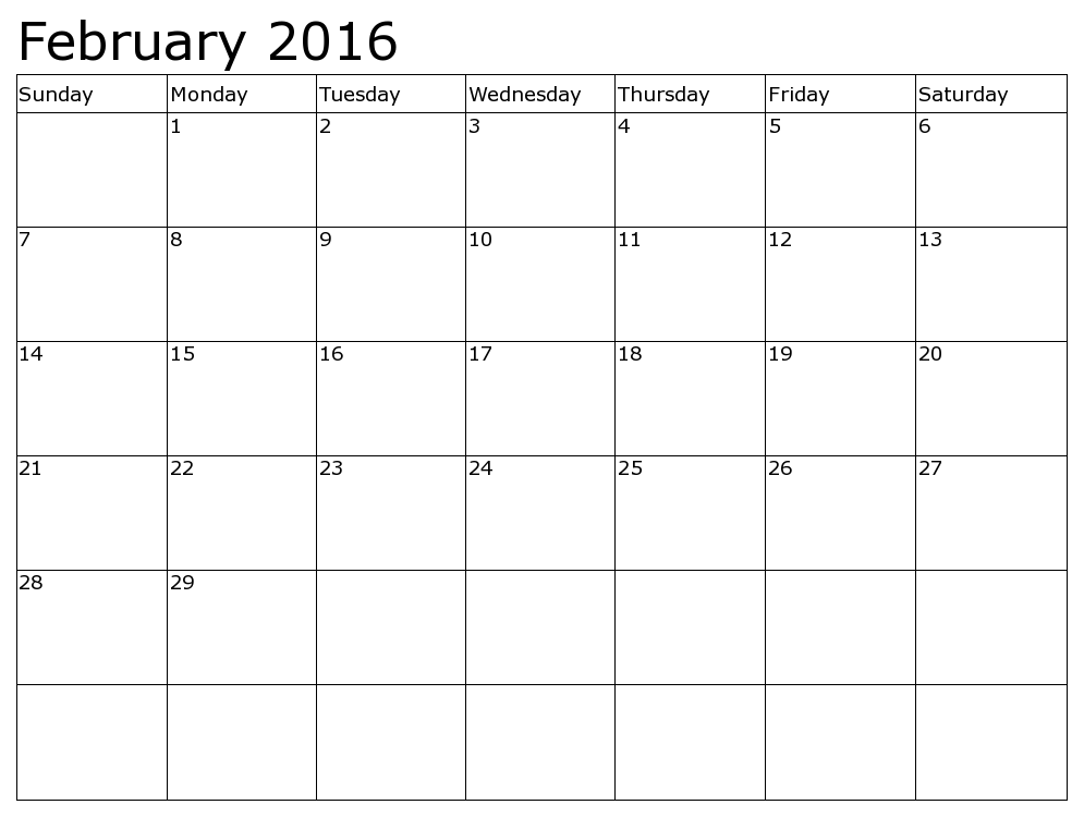 February 2015 calendar page clipart banner free library february 2016 calendar - images, photo graphics - DownloadClipart.org banner free library
