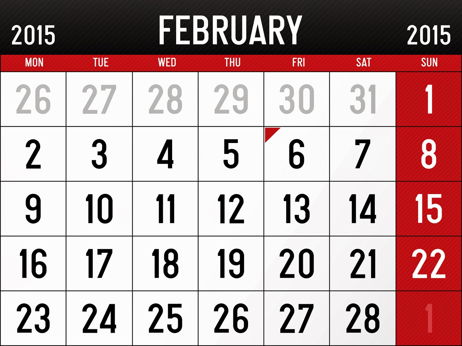 February 2015 calendar page clipart image library February 2015 clipart - ClipartFest image library