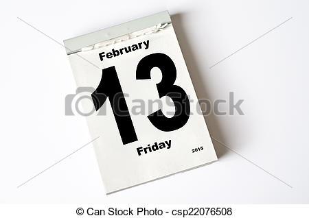 February 2015 calendar page clipart jpg transparent library Stock Photography of 13. February 2015 - calendar sheet 13 ... jpg transparent library