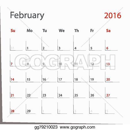 February 2016 calendar clipart clip transparent download Vector Stock - February 2016 calendar. Stock Clip Art gg79210023 ... clip transparent download