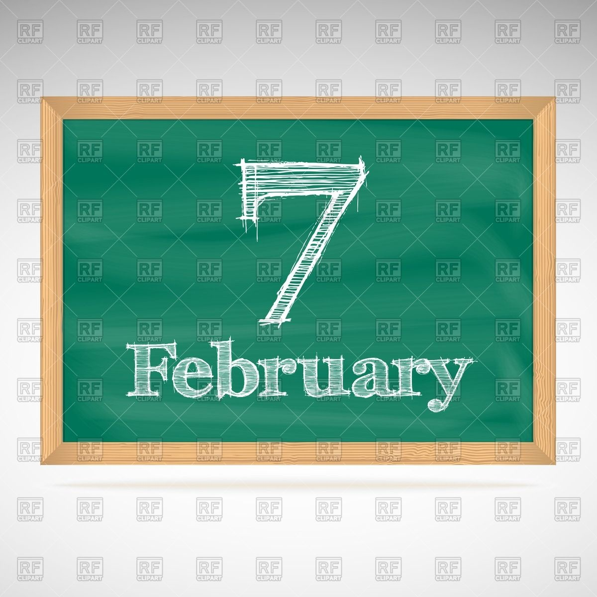 February 7 calendar clipart graphic black and white download School chalkboard calendar with inscription in chalk February 7 ... graphic black and white download