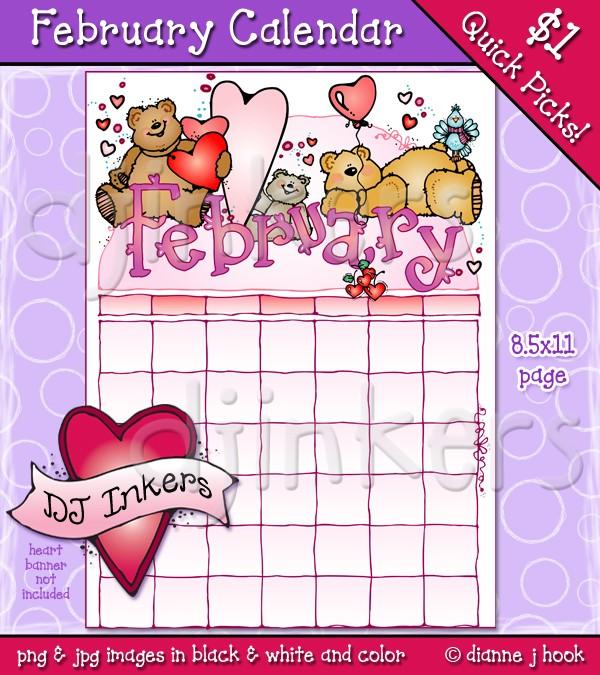 February calendar clip art jpg library download February Calendar clip art page by DJ Inkers - DJ Inkers jpg library download