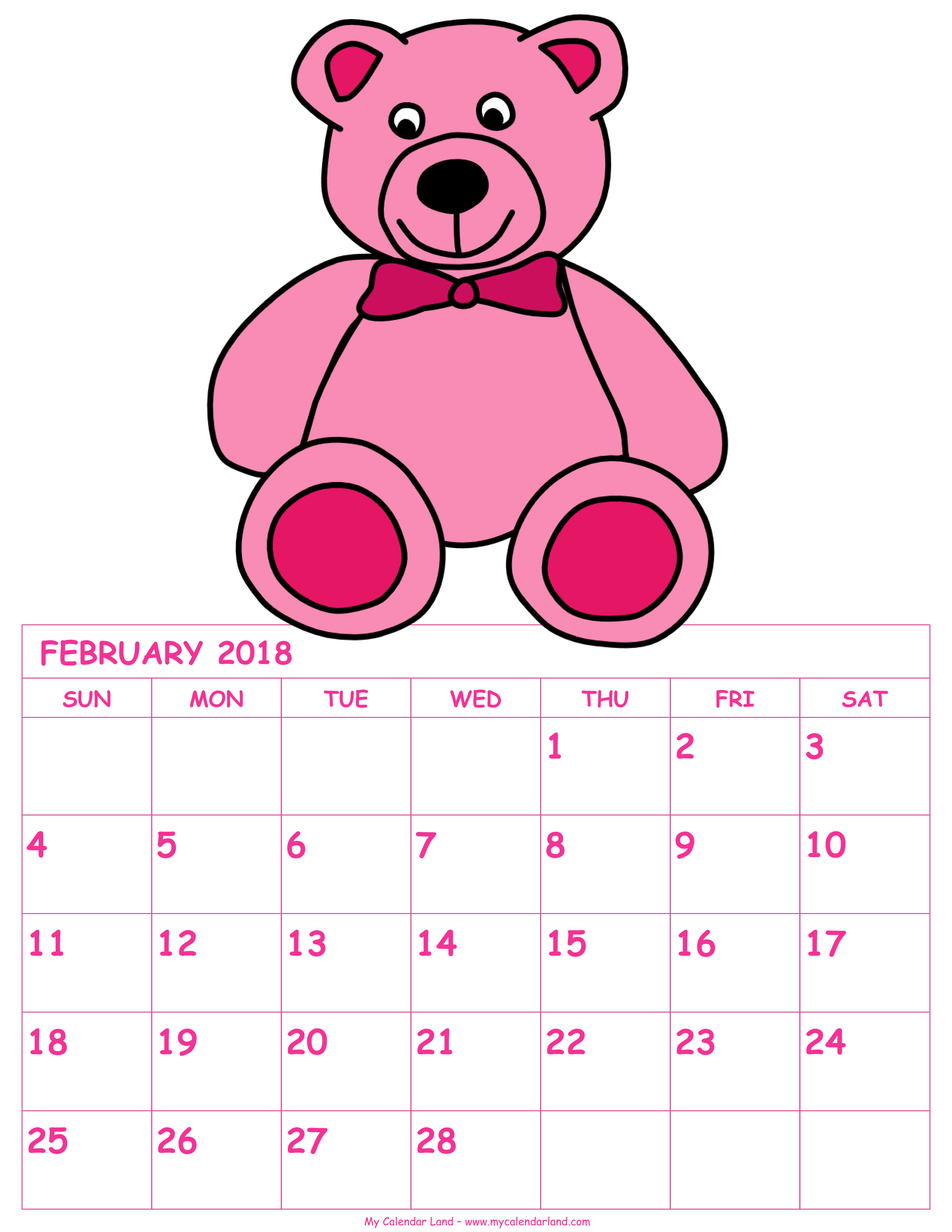 February calendar clip art vector black and white February 2018 Calendar - My Calendar Land vector black and white