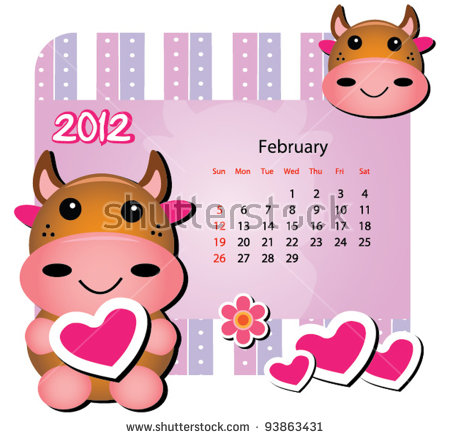 February clipart images animals clipart free download Animal Calendar Series (February-Cow Version. Up To Twelve Animals ... clipart free download