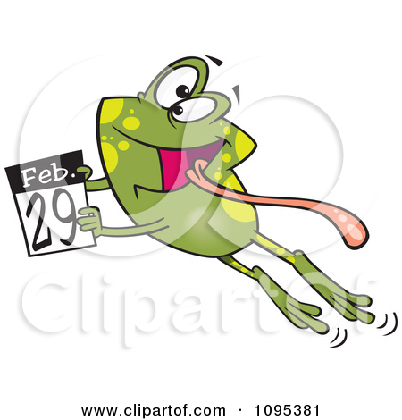 February clipart images print for free clip free library Black And White Outline Cartoon Leap Day Frog Jumping With A ... clip free library