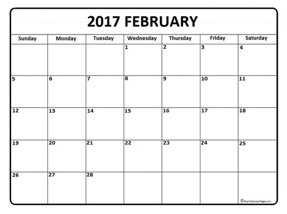 February clipart images print for free image freeuse stock February calendar 2017 printable and free blank calendar | 2017 ... image freeuse stock