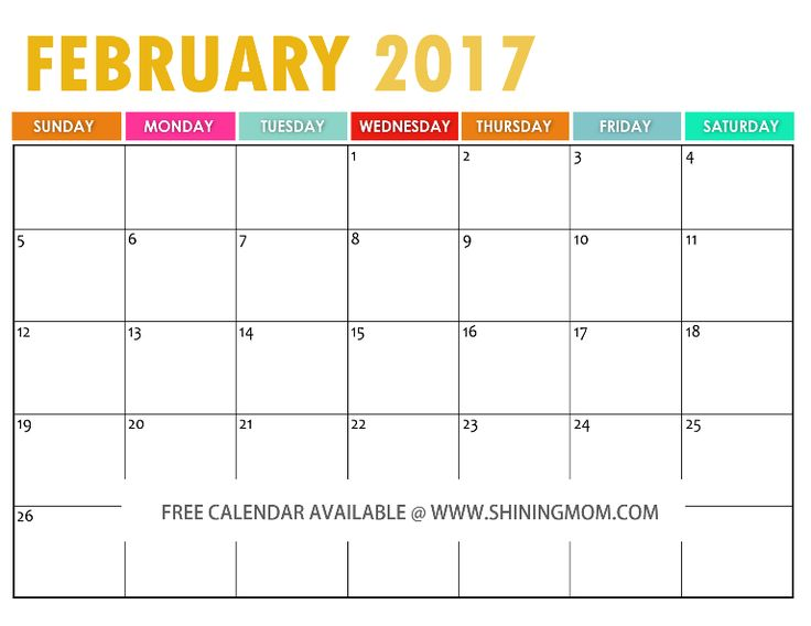 February clipart images print for free vector library download 17 Best images about Free Printable 2017 Calendars by Shining Mom ... vector library download
