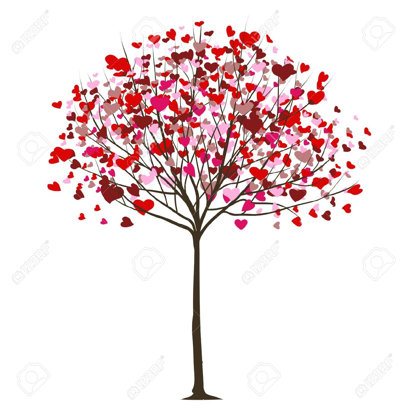 February hearts clip art graphic black and white download Valentine Tree With Hearts Royalty Free Cliparts, Vectors, And ... graphic black and white download