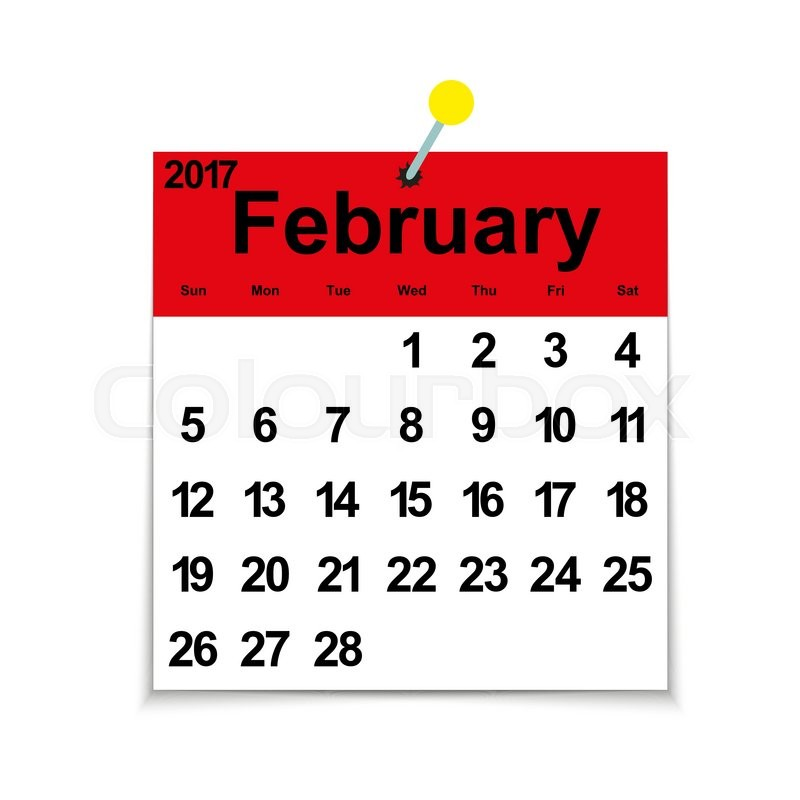 February month calendar clipart clipart library download Leaf calendar 2017 with the month of February days of the week and ... clipart library download
