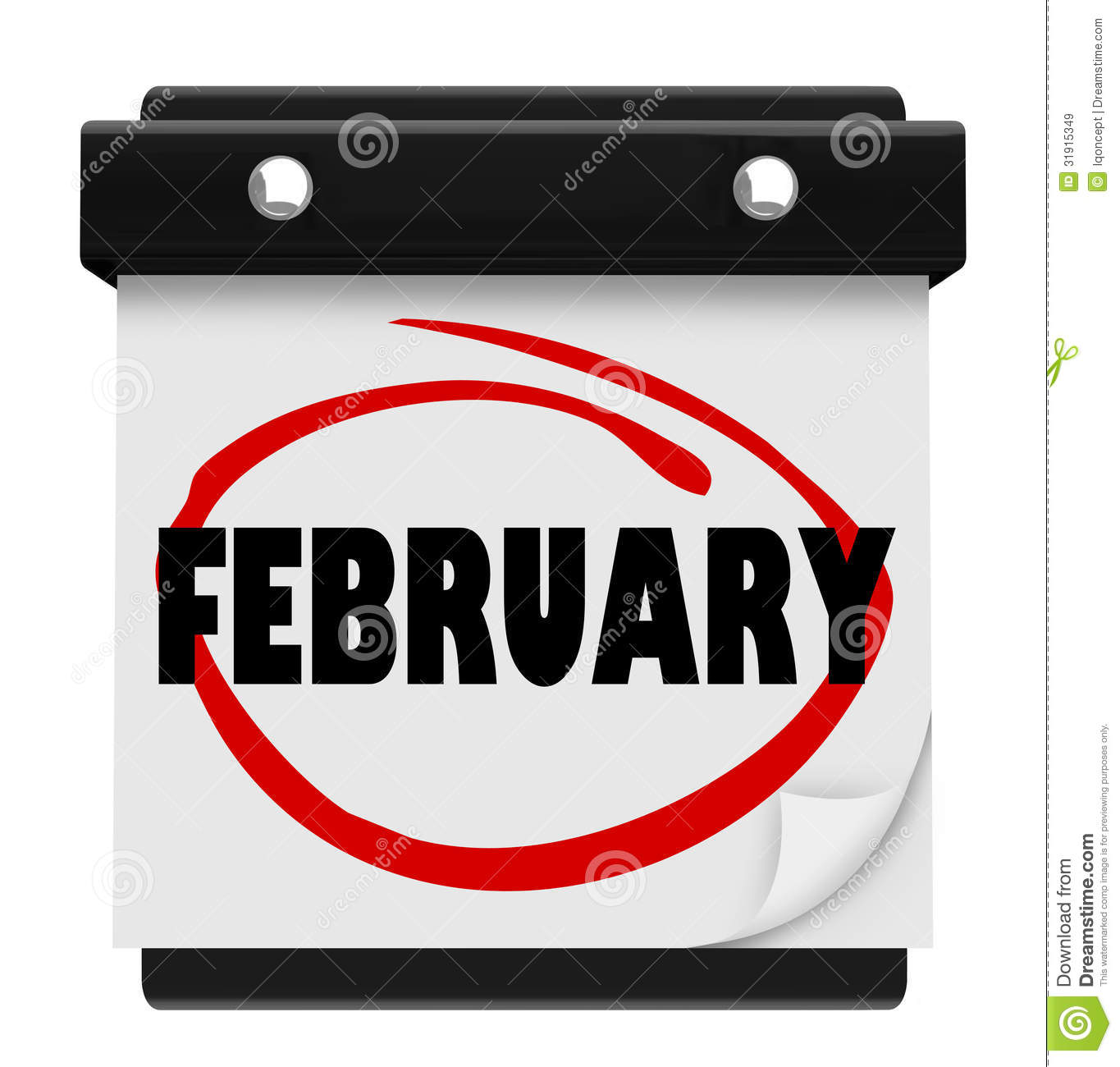 February month calendar clipart clip black and white library February Month Word Wall Calendar Remember Schedule Royalty Free ... clip black and white library