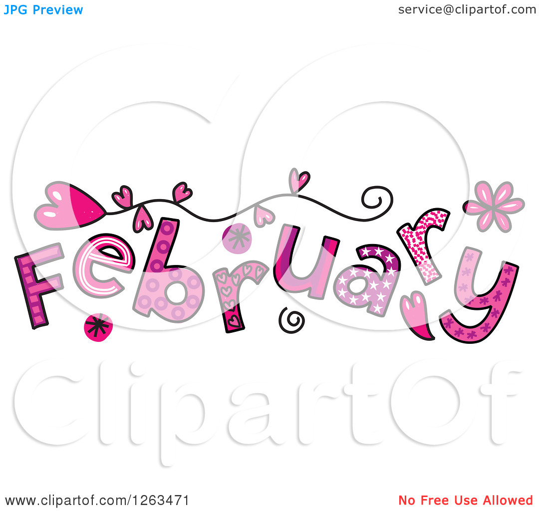 February month clipart clip transparent Clipart of Colorful Sketched Month of February Valentines Day Love ... clip transparent