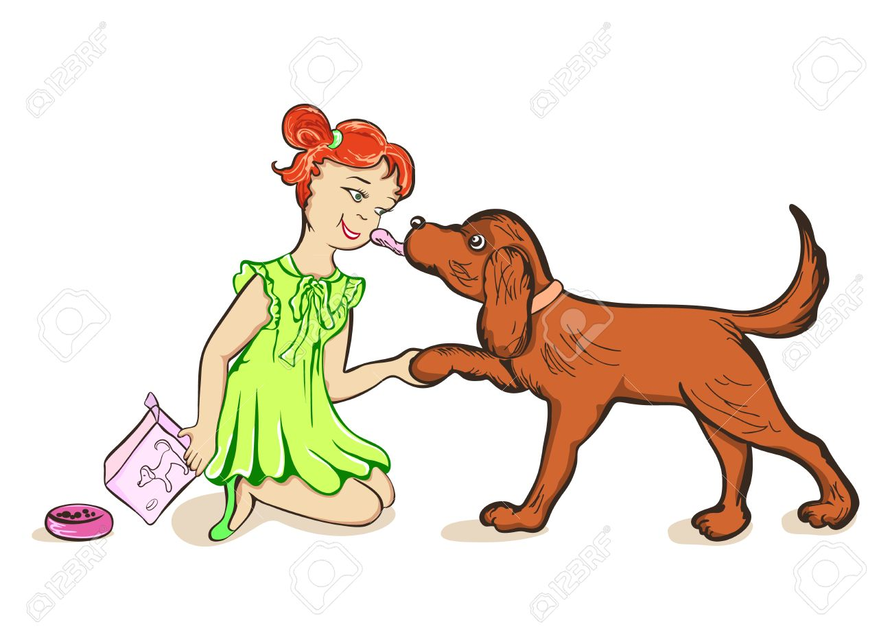 Feed the dog clipart clip free library Girl Feeds A Dog Royalty Free Cliparts, Vectors, And Stock ... clip free library