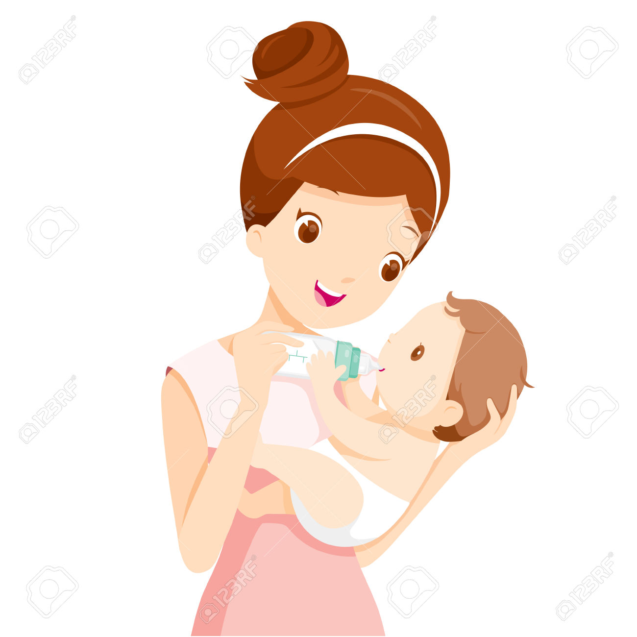 Feeding baby clipart image free stock Mother Feeding Baby With Milk In Baby Bottle » Clipart Station image free stock