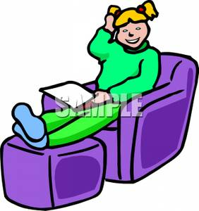 Feet up clipart png Young Girl Sitting In a Chair with Her Feet Up Reading a Book ... png