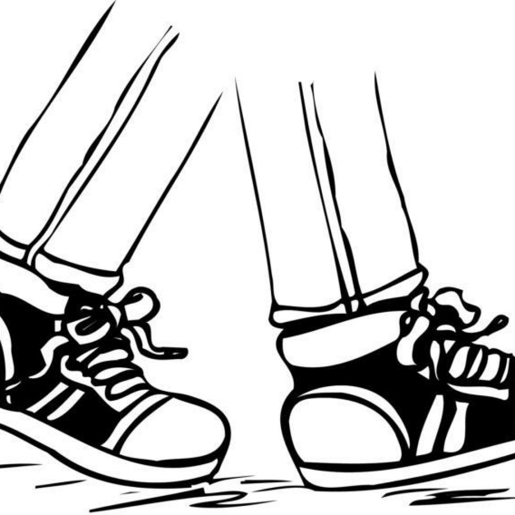 Feet with shoes clipart black and white jpg stock Walking Feet Drawing at PaintingValley.com | Explore collection of ... jpg stock