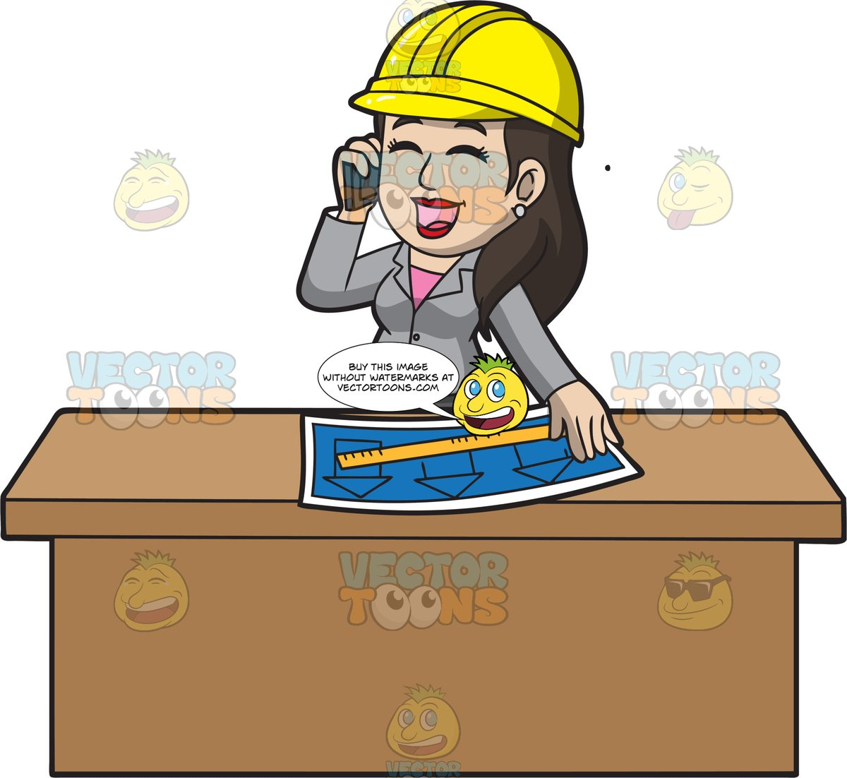 Female architect clipart graphic royalty free download A Female Architect Talking To Her Client On The Phone graphic royalty free download