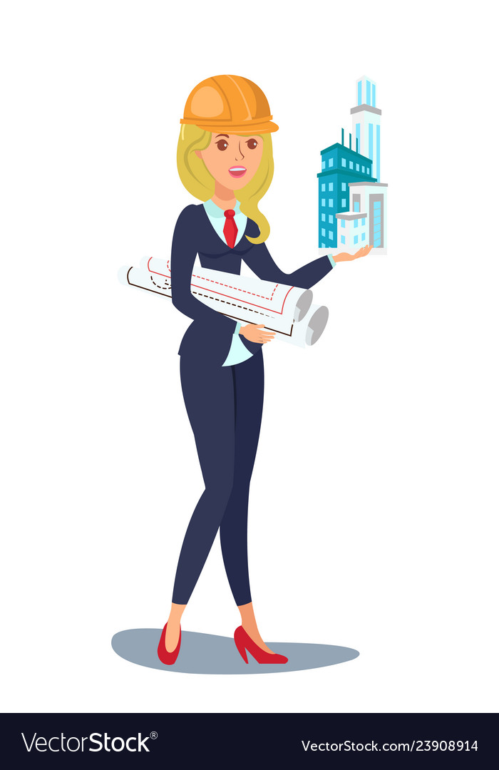 Female architect clipart picture stock Architect design character picture stock