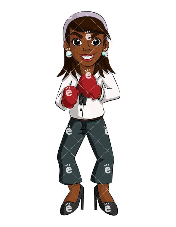 Female boxing gloves clipart svg transparent A Black Businesswoman Wearing Red Boxing Gloves Ready To Fight ... svg transparent