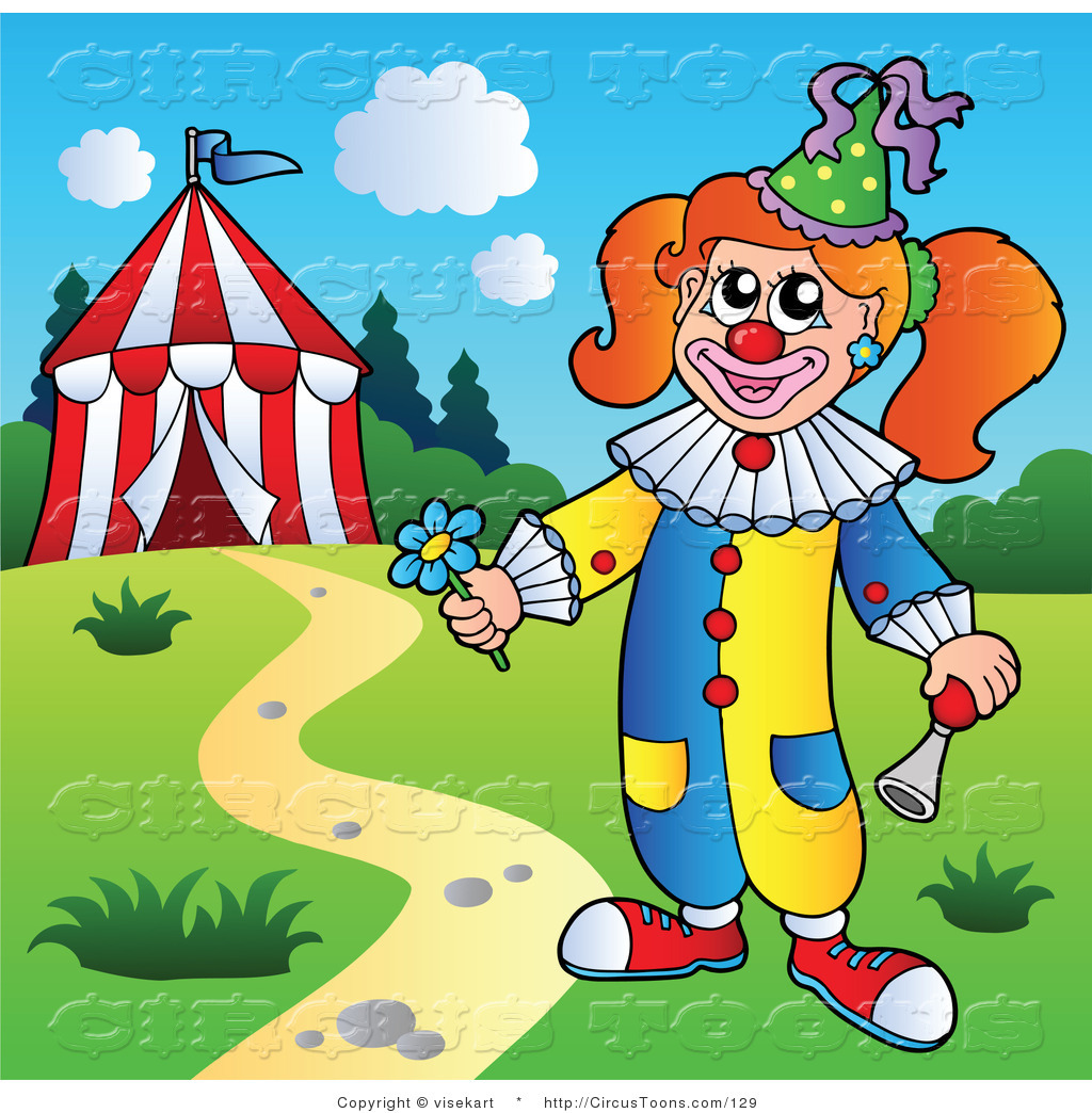 Female clown clipart picture freeuse Circus Clipart of a Female Circus Clown with Pigtails by a Tent by ... picture freeuse