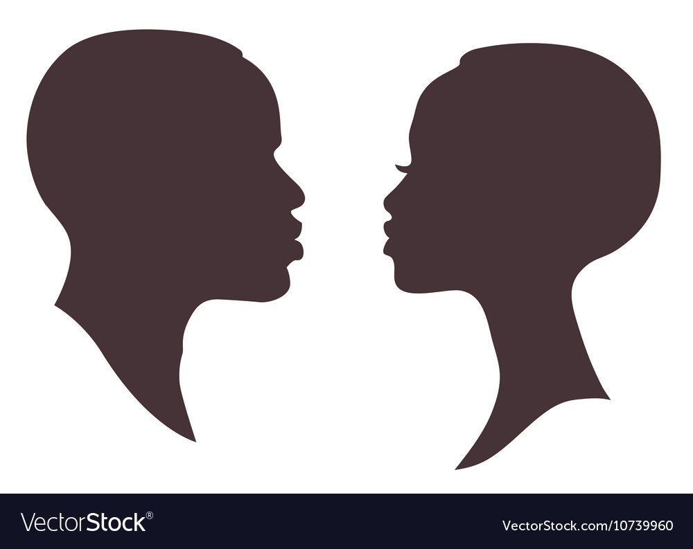 Female face silhouette clipart clipart freeuse library African woman and man face silhouette clipart freeuse library