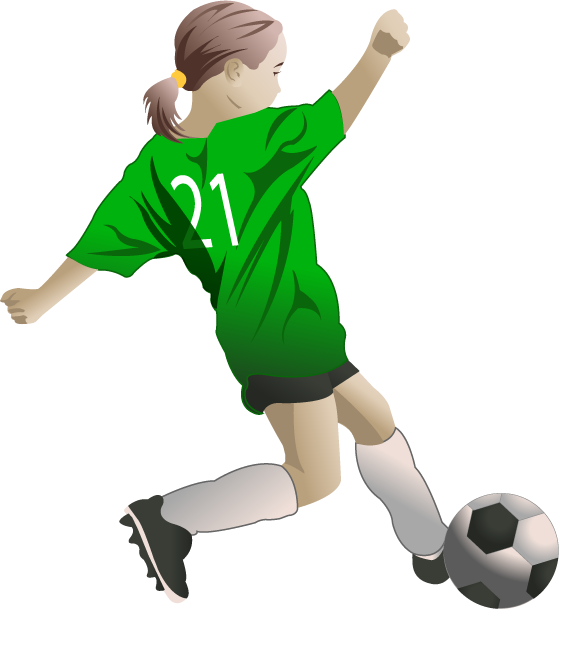 collection of soccer. Female football player clipart