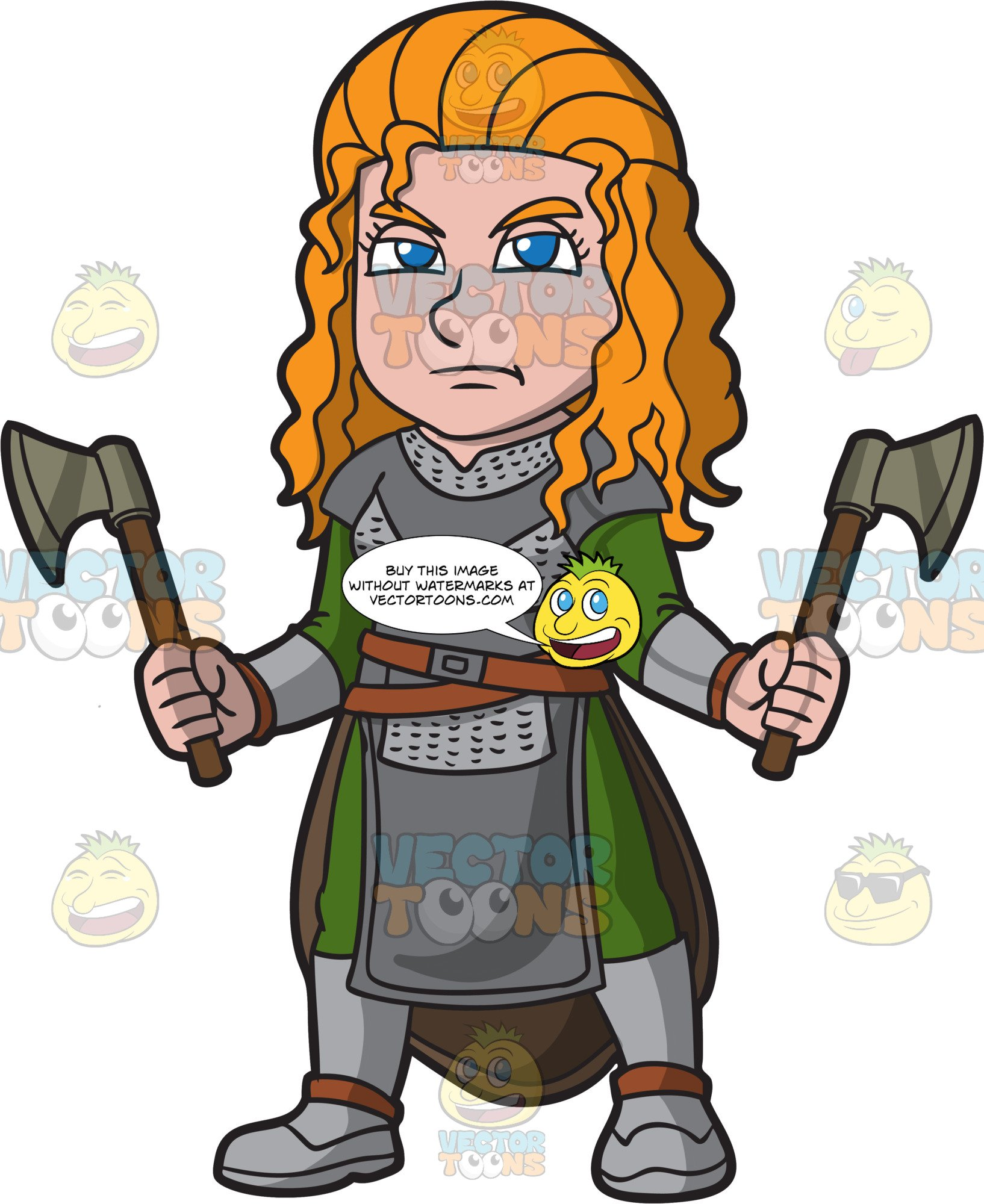 Female viking clipart vector transparent library A Female Viking Wielding Axes vector transparent library