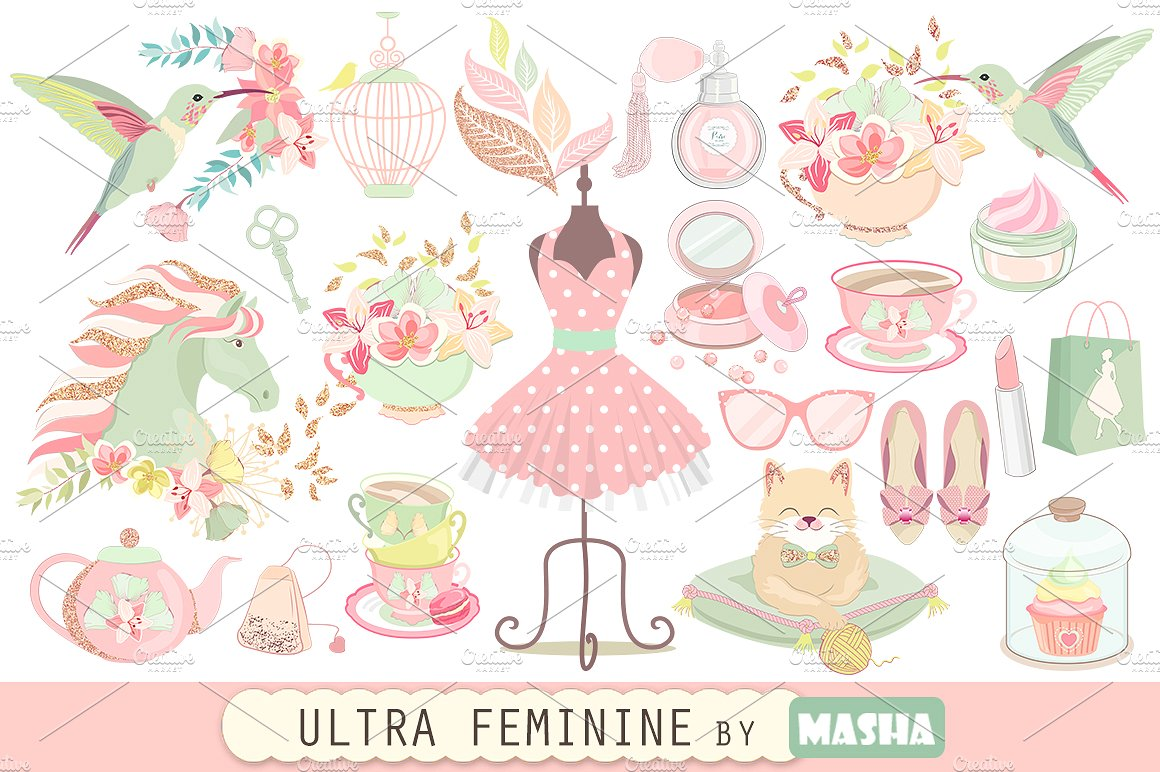 Feminine number 1 clipart image black and white library ULTRA FEMININE clipart ~ Illustrations on Creative Market image black and white library