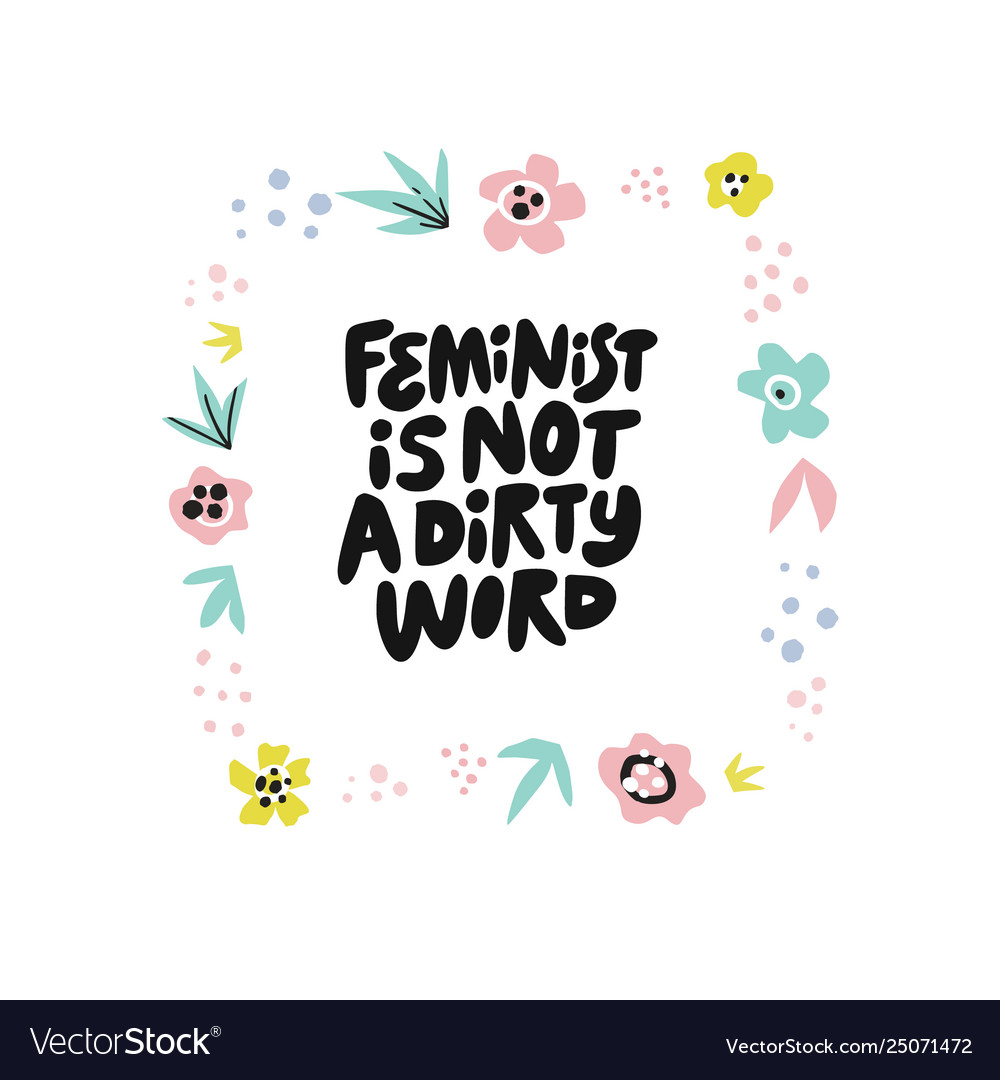 Feminist word clipart black and white Feminist is not dirty word hand drawn quote black and white
