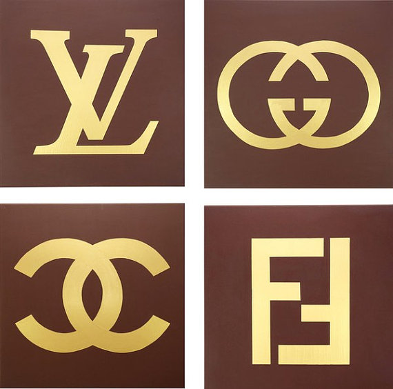 Fendi logo clipart vector library stock Louis Vuitton, Gucci, Fendi and Chanel Paintings (Set of Four, each ... vector library stock