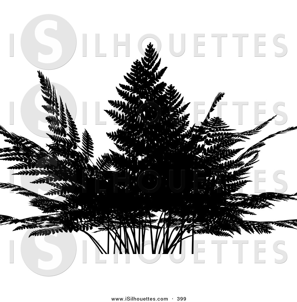 Fern silhouette clipart png library library Silhouette Clipart of a Silhouetted Fern Plant over a Solid White ... png library library