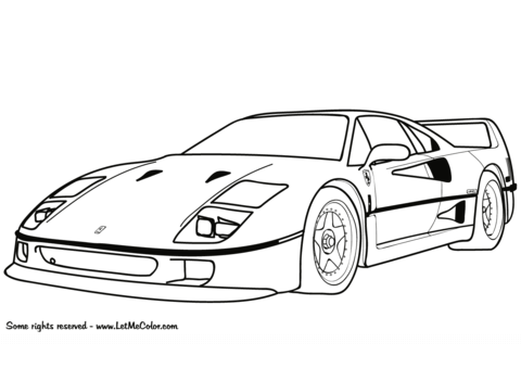 Ferrari f 40 clipart clip art free library Ferrari F40 coloring page | Free Printable Coloring Pages clip art free library