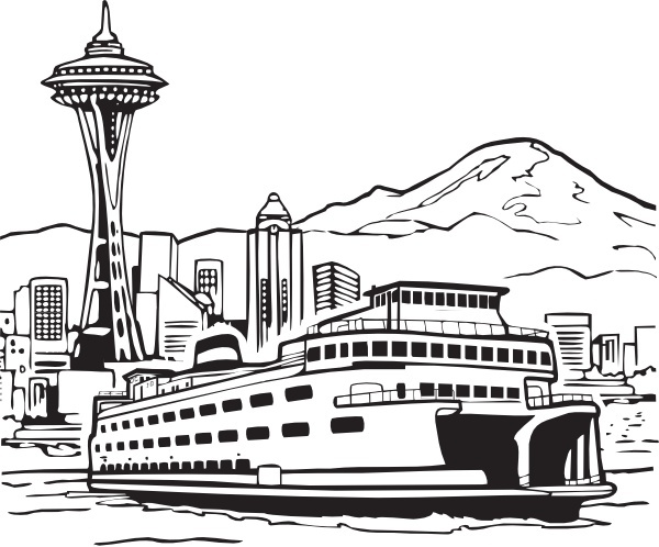 Ferry clipart black and white vector free library Space Needle And Ferry clip art Free vector in Open office drawing ... vector free library