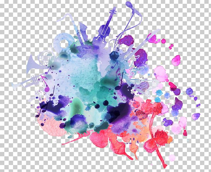 Watercolor painting background png. Free music festival clipart