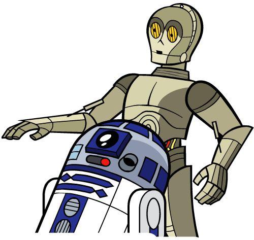 Fictional clipart vector free stock Star Wars Droids Droid Robot Robots R2-D2 R2D2 C-3PO C3PO Sci-Fi ... vector free stock