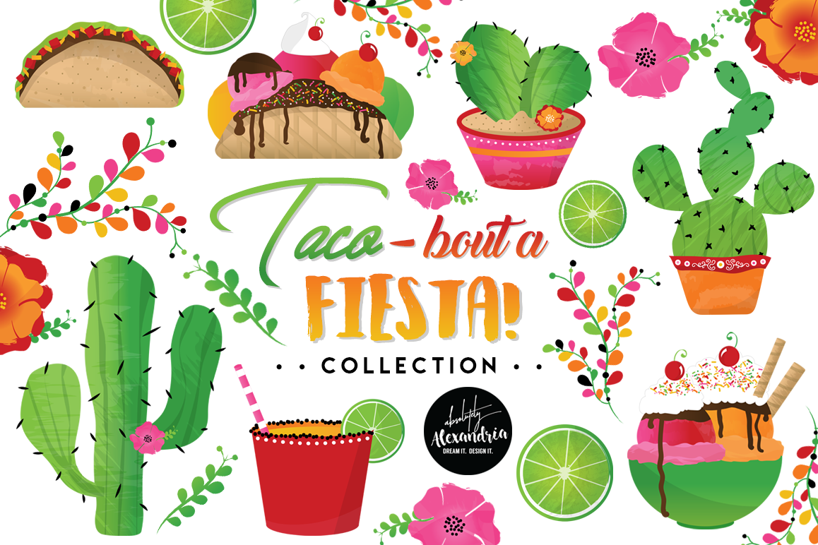 Fiesta clipart pictures png royalty free download Taco Bout A Fiesta Clipart Graphics & Digital Paper Patterns Bundle png royalty free download