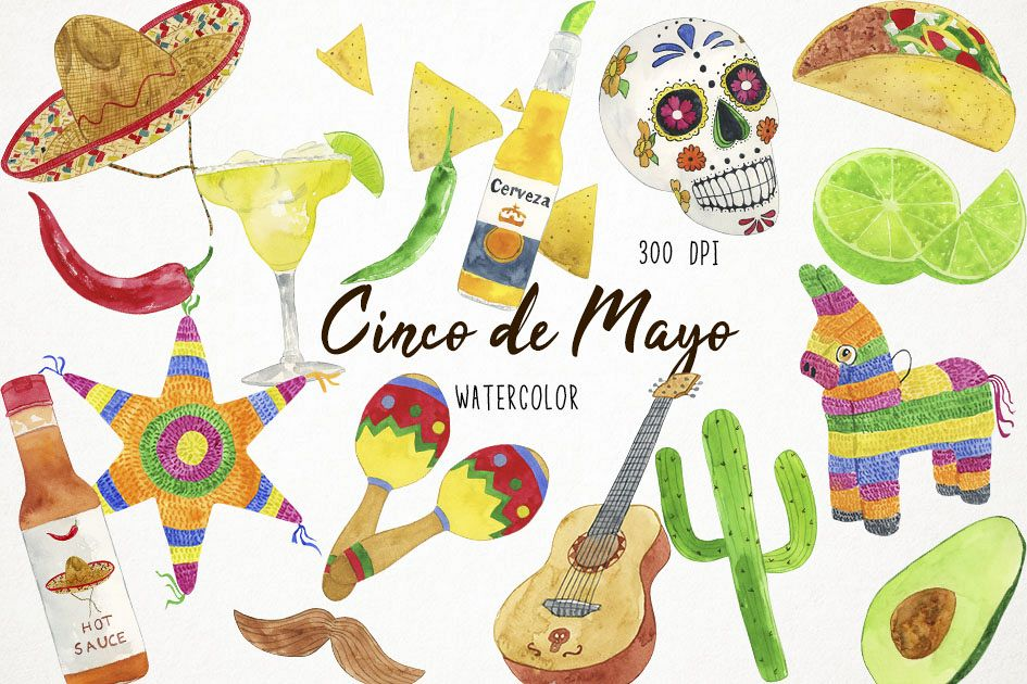 Fiesta clipart pictures jpg transparent stock Watercolor Fiesta Clipart, Cinco de Mayo Clipart jpg transparent stock